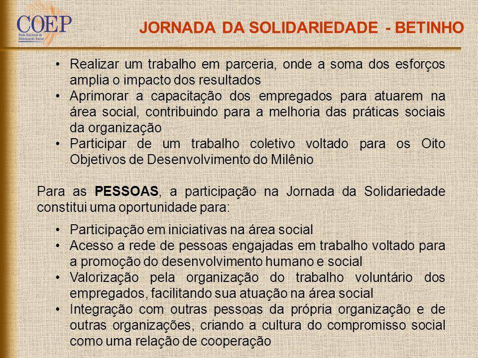JORNADA DA SOLIDARIEDADE - BETINHO Realizar um trabalho em parceria, onde a soma dos esforços amplia o impacto dos resultados Aprimorar a capacitação