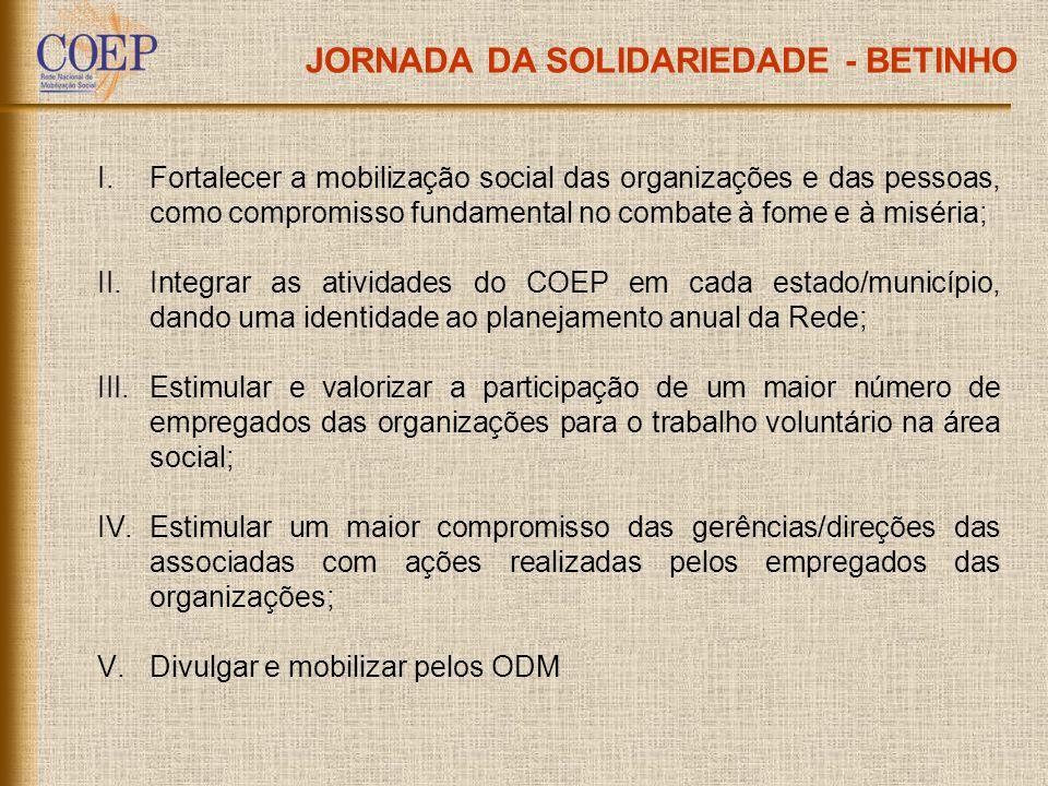 JORNADA DA SOLIDARIEDADE - BETINHO I.Fortalecer a mobilização social das organizações e das pessoas, como compromisso fundamental no combate à fome e