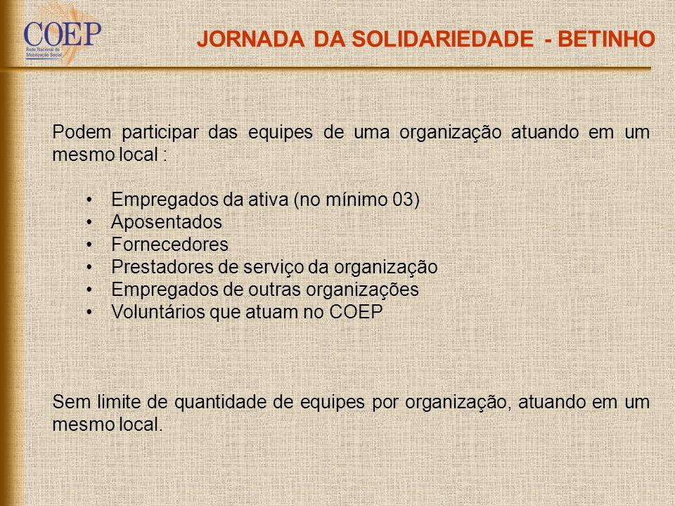 JORNADA DA SOLIDARIEDADE - BETINHO Podem participar das equipes de uma organização atuando em um mesmo local : Empregados da ativa (no mínimo 03) Apos