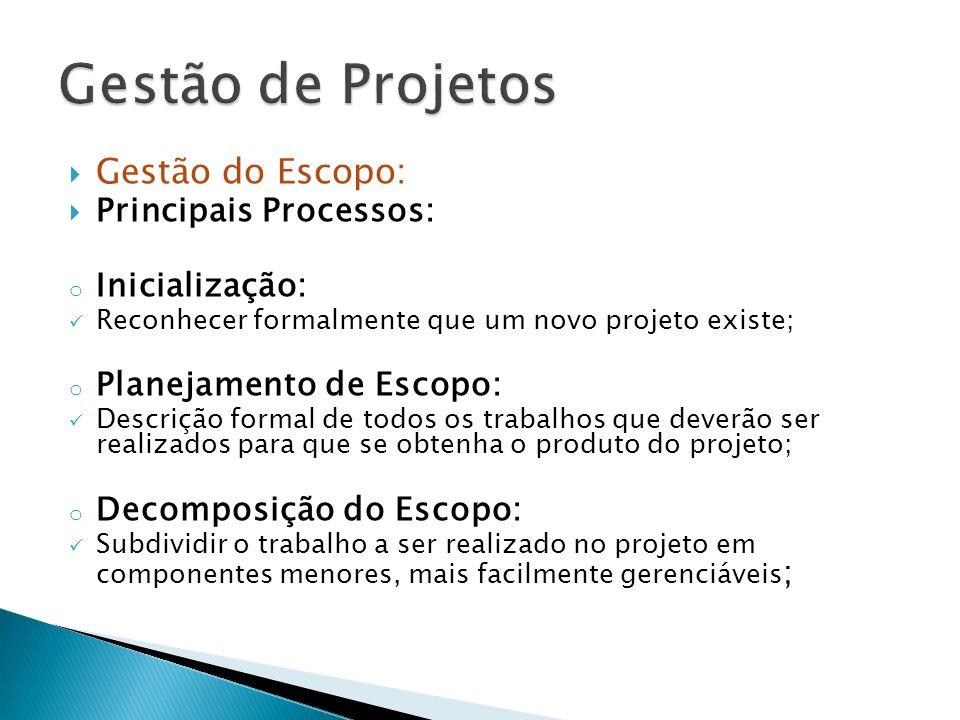 Gestão do Escopo: Principais Processos: o Inicialização: Reconhecer formalmente que um novo projeto existe; o Planejamento de Escopo: Descrição formal