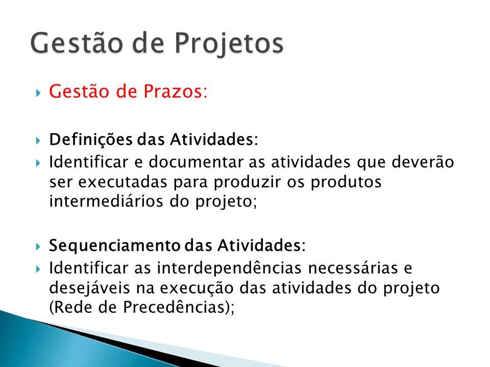 Gestão de Prazos: Definições das Atividades: Identificar e documentar as atividades que deverão ser executadas para produzir os produtos intermediário
