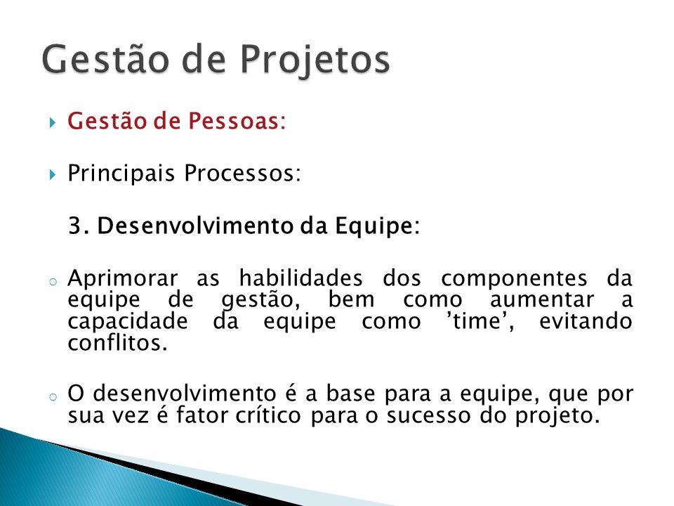 Gestão de Pessoas: Principais Processos: 3. Desenvolvimento da Equipe: o Aprimorar as habilidades dos componentes da equipe de gestão, bem como aument