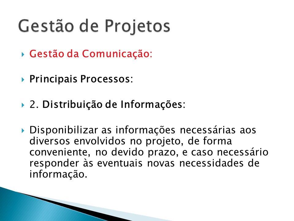 Gestão da Comunicação: Principais Processos: 2. Distribuição de Informações: Disponibilizar as informações necessárias aos diversos envolvidos no proj