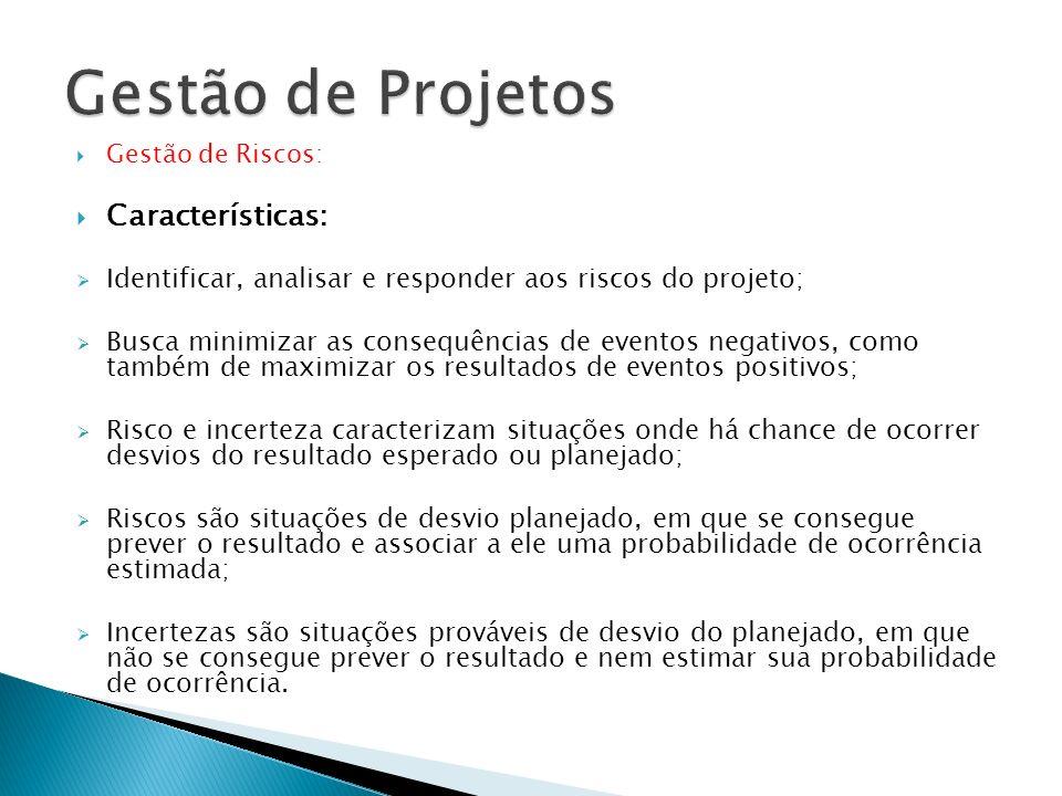 Características: Identificar, analisar e responder aos riscos do projeto; Busca minimizar as consequências de eventos negativos, como também de maximi