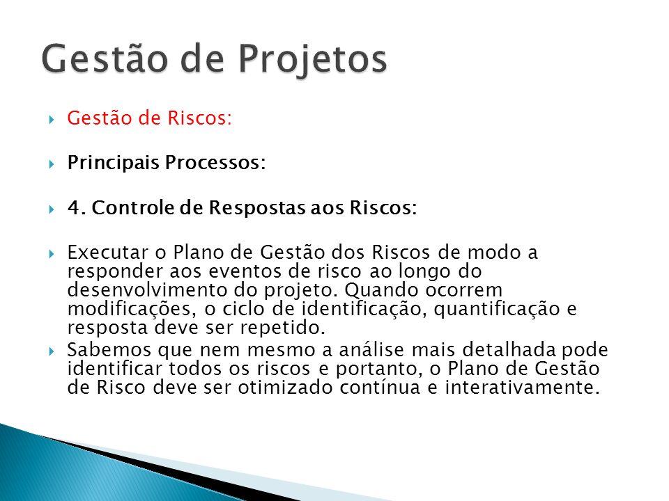 Gestão de Riscos: Principais Processos: 4. Controle de Respostas aos Riscos: Executar o Plano de Gestão dos Riscos de modo a responder aos eventos de
