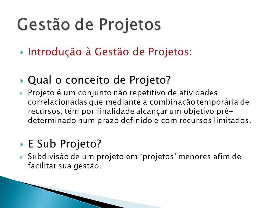 Introdução à Gestão de Projetos: Qual o conceito de Projeto? Projeto é um conjunto não repetitivo de atividades correlacionadas que mediante a combina