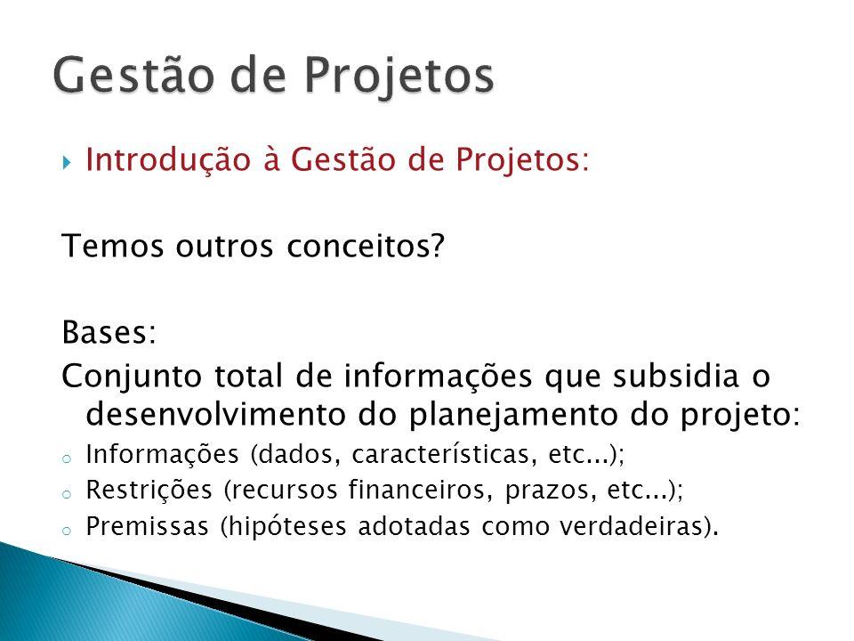 Introdução à Gestão de Projetos: Temos outros conceitos? Bases: Conjunto total de informações que subsidia o desenvolvimento do planejamento do projet
