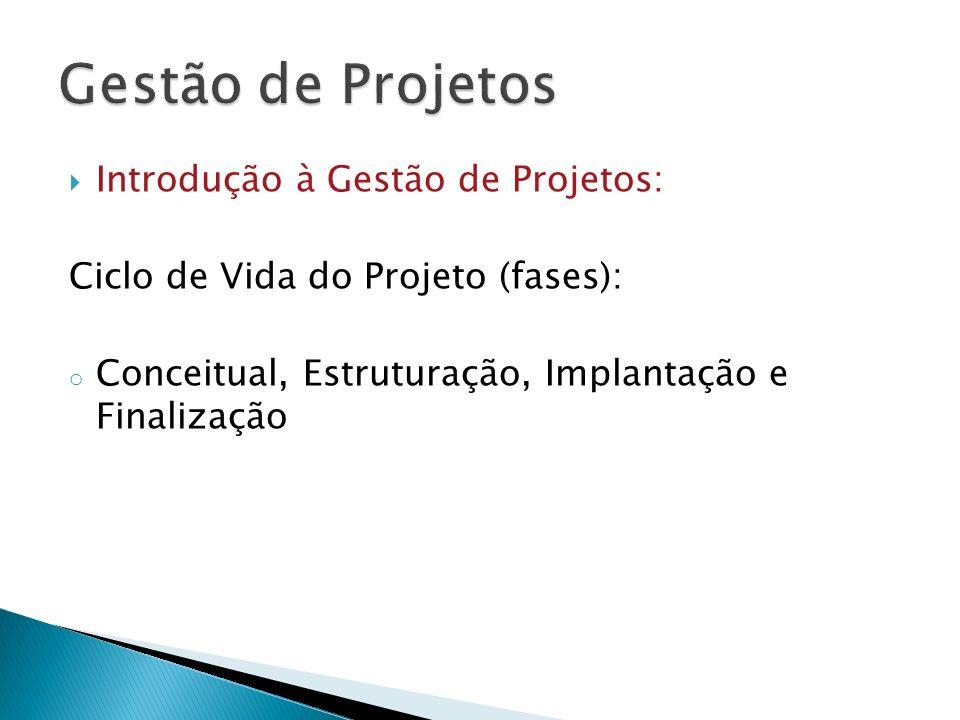Introdução à Gestão de Projetos: Ciclo de Vida do Projeto (fases): o Conceitual, Estruturação, Implantação e Finalização