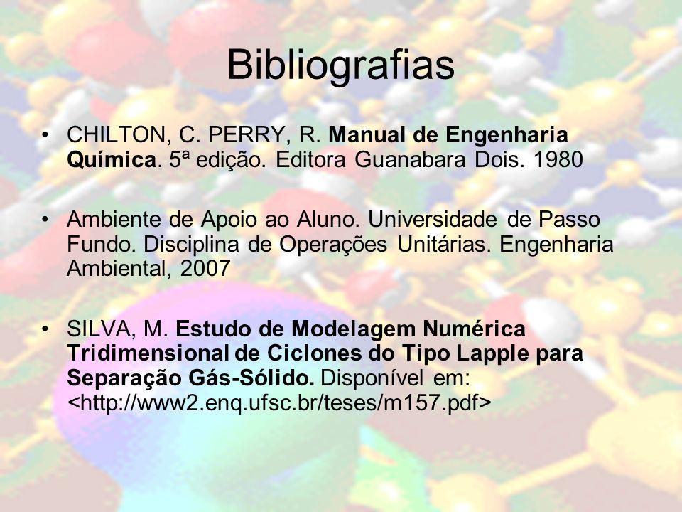 Bibliografias CHILTON, C. PERRY, R. Manual de Engenharia Química. 5ª edição. Editora Guanabara Dois. 1980 Ambiente de Apoio ao Aluno. Universidade de