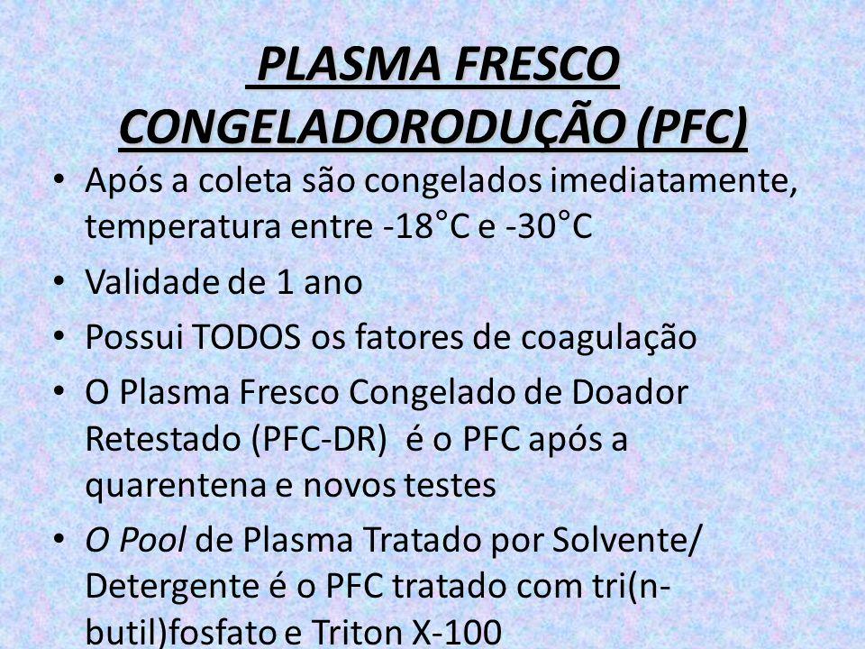 PLASMA FRESCO CONGELADORODUÇÃO (PFC) PLASMA FRESCO CONGELADORODUÇÃO (PFC) Após a coleta são congelados imediatamente, temperatura entre -18°C e -30°C
