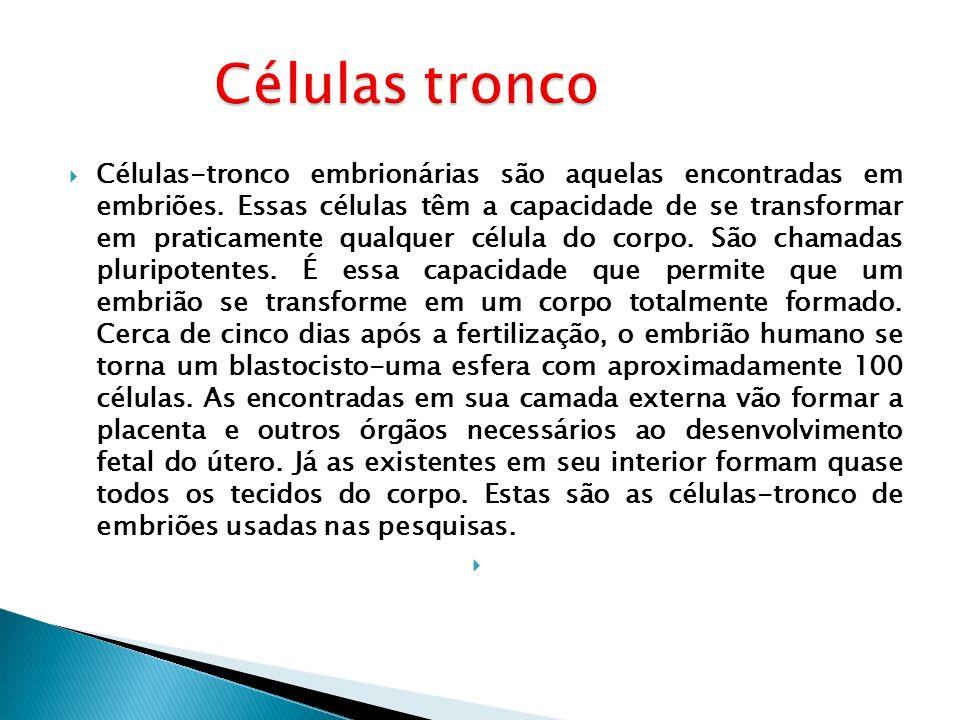 Células-tronco embrionárias são aquelas encontradas em embriões. Essas células têm a capacidade de se transformar em praticamente qualquer célula do c