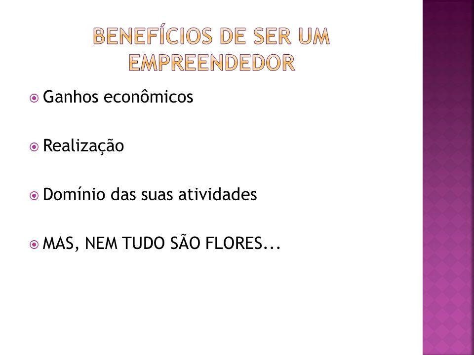 Ganhos econômicos Realização Domínio das suas atividades MAS, NEM TUDO SÃO FLORES...
