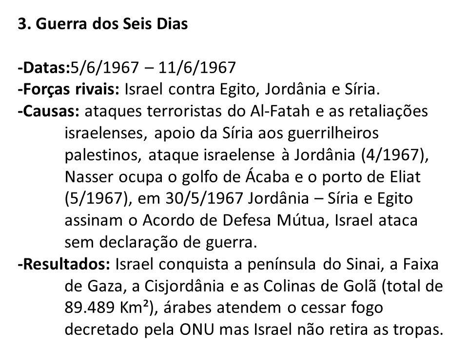 3. Guerra dos Seis Dias -Datas:5/6/1967 – 11/6/1967 -Forças rivais: Israel contra Egito, Jordânia e Síria. -Causas: ataques terroristas do Al-Fatah e