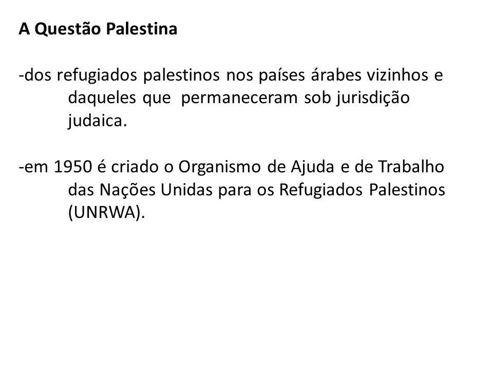 A Questão Palestina -dos refugiados palestinos nos países árabes vizinhos e daqueles que permaneceram sob jurisdição judaica. -em 1950 é criado o Orga