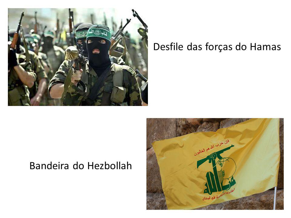 Desfile das forças do Hamas Bandeira do Hezbollah