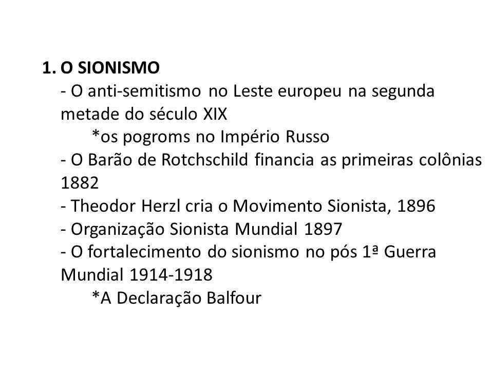 1.O SIONISMO - O anti-semitismo no Leste europeu na segunda metade do século XIX *os pogroms no Império Russo - O Barão de Rotchschild financia as pri