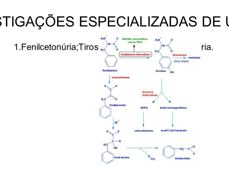 INVESTIGAÇÕES ESPECIALIZADAS DE URINA 1.Fenilcetonúria;Tirosilúria;Alcaptonúria;Melanúria.