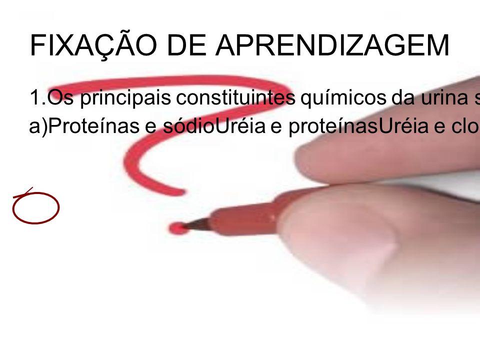 FIXAÇÃO DE APRENDIZAGEM 1.Os principais constituintes químicos da urina são: a)Proteínas e sódioUréia e proteínasUréia e cloretosUréia e bilirrubina