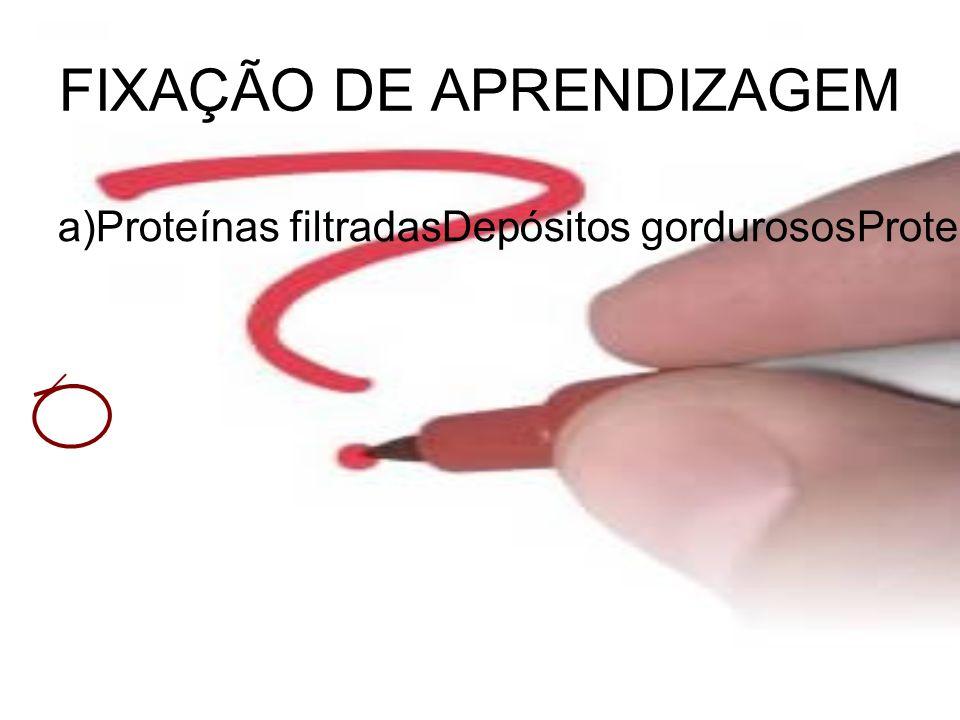 FIXAÇÃO DE APRENDIZAGEM a)Proteínas filtradasDepósitos gordurososProteína de Tamm-HorsfallProteína de Bence Jones