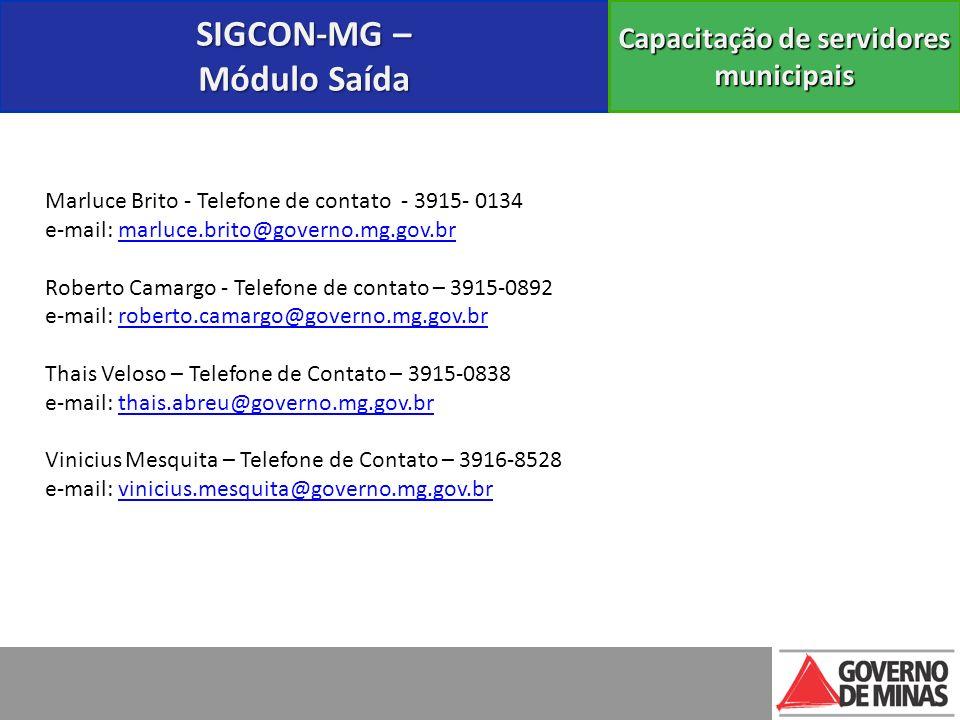 Marluce Brito - Telefone de contato - 3915- 0134 e-mail: marluce.brito@governo.mg.gov.brmarluce.brito@governo.mg.gov.br Roberto Camargo - Telefone de