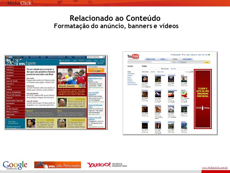 www.midiaclick.com.br Relacionado ao Conteúdo Formatação do anúncio, banners e vídeos