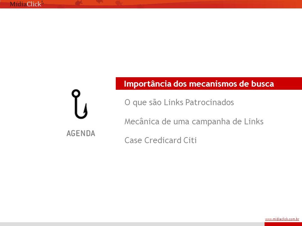 www.midiaclick.com.br Importância dos mecanismos de busca O que são Links Patrocinados Mecânica de uma campanha de Links Case Credicard Citi Importância dos mecanismos de busca