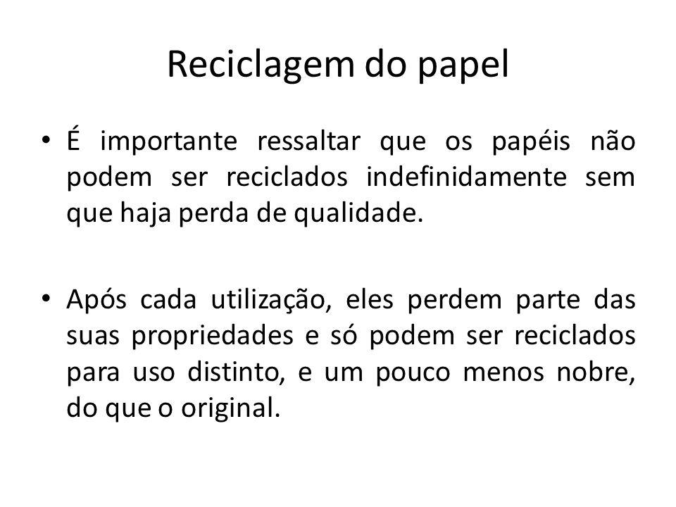 Reciclagem do papel É importante ressaltar que os papéis não podem ser reciclados indefinidamente sem que haja perda de qualidade. Após cada utilizaçã