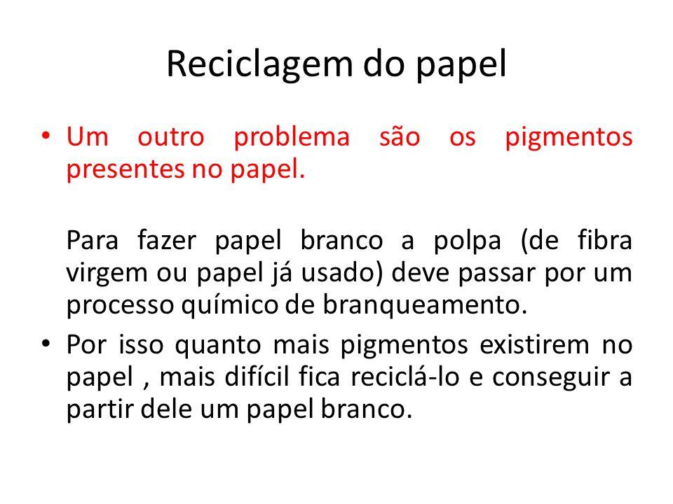Reciclagem do papel Um outro problema são os pigmentos presentes no papel. Para fazer papel branco a polpa (de fibra virgem ou papel já usado) deve pa