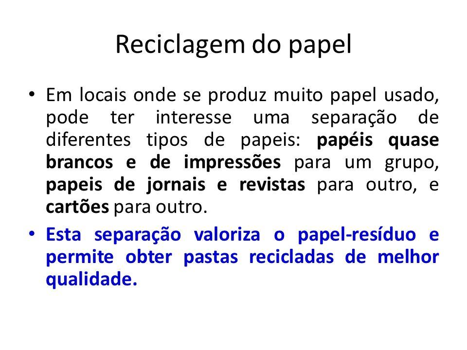 Reciclagem do papel Em locais onde se produz muito papel usado, pode ter interesse uma separação de diferentes tipos de papeis: papéis quase brancos e