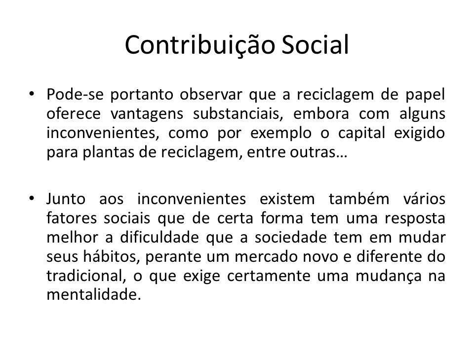 Contribuição Social Pode-se portanto observar que a reciclagem de papel oferece vantagens substanciais, embora com alguns inconvenientes, como por exe