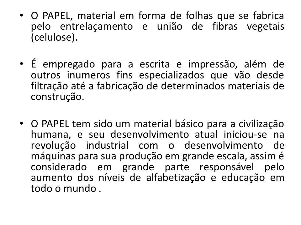 O PAPEL, material em forma de folhas que se fabrica pelo entrelaçamento e união de fibras vegetais (celulose). É empregado para a escrita e impressão,