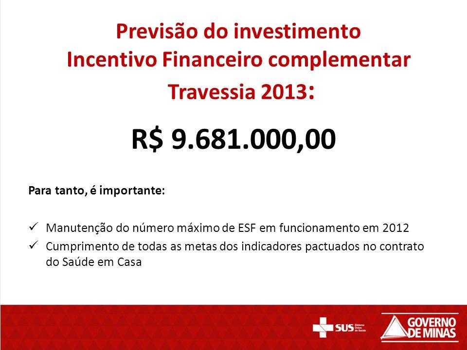 Previsão do investimento Incentivo Financeiro complementar Travessia 2013 : R$ 9.681.000,00 Para tanto, é importante: Manutenção do número máximo de ESF em funcionamento em 2012 Cumprimento de todas as metas dos indicadores pactuados no contrato do Saúde em Casa