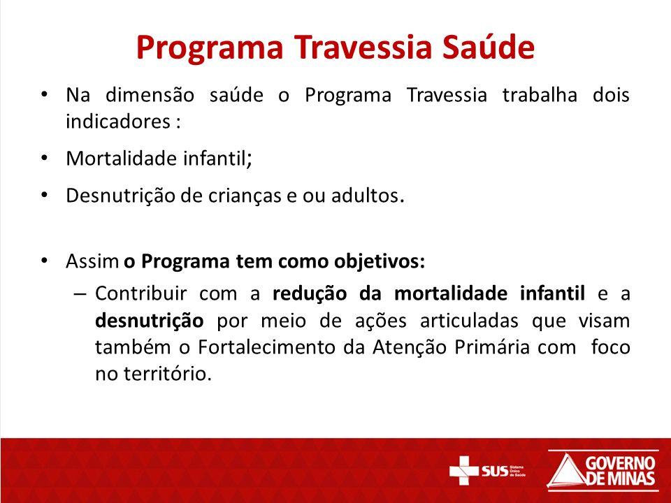 Programa Travessia Saúde Na dimensão saúde o Programa Travessia trabalha dois indicadores : Mortalidade infantil ; Desnutrição de crianças e ou adulto