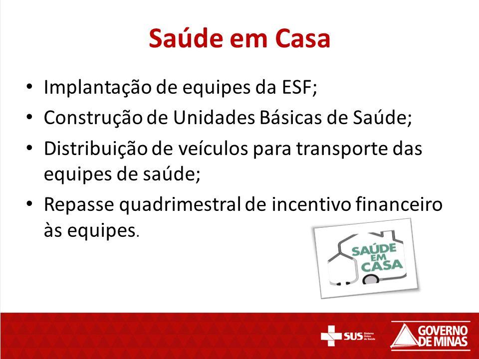 Saúde em Casa Implantação de equipes da ESF; Construção de Unidades Básicas de Saúde; Distribuição de veículos para transporte das equipes de saúde; Repasse quadrimestral de incentivo financeiro às equipes.