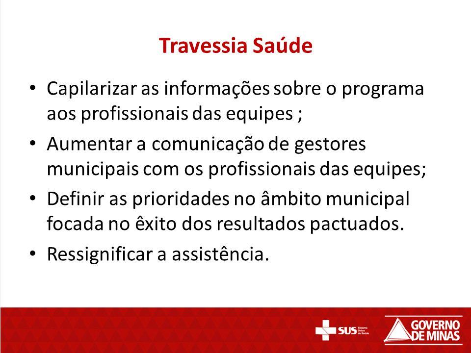 Travessia Saúde Capilarizar as informações sobre o programa aos profissionais das equipes ; Aumentar a comunicação de gestores municipais com os profi