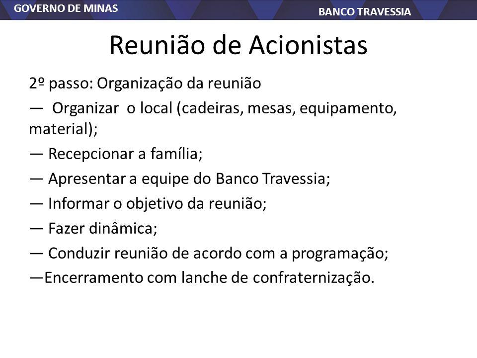 GOVERNO DE MINAS BANCO TRAVESSIA Reunião de Acionistas 2º passo: Organização da reunião Organizar o local (cadeiras, mesas, equipamento, material); Re