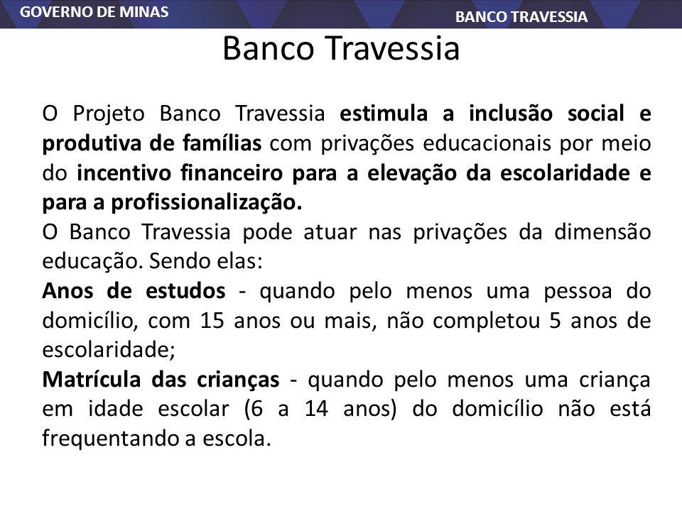 GOVERNO DE MINAS BANCO TRAVESSIA Banco Travessia O Projeto Banco Travessia estimula a inclusão social e produtiva de famílias com privações educaciona