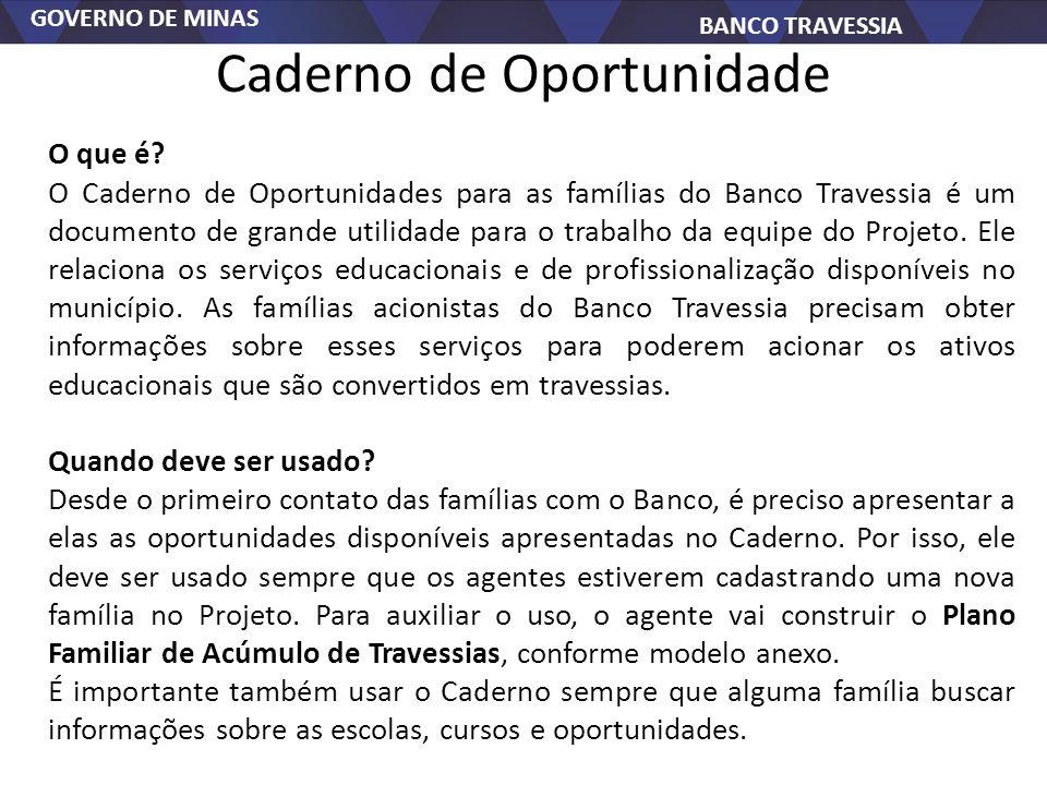 GOVERNO DE MINAS BANCO TRAVESSIA Caderno de Oportunidade O que é? O Caderno de Oportunidades para as famílias do Banco Travessia é um documento de gra
