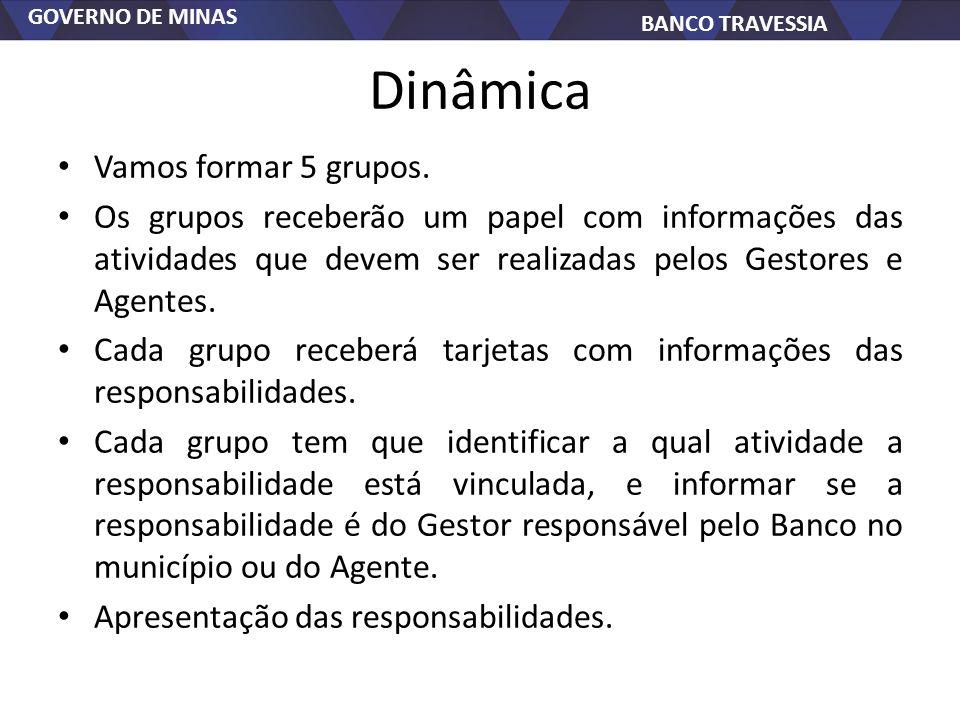 GOVERNO DE MINAS BANCO TRAVESSIA Dinâmica Vamos formar 5 grupos. Os grupos receberão um papel com informações das atividades que devem ser realizadas