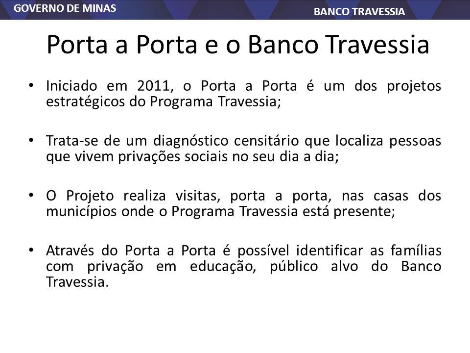 GOVERNO DE MINAS BANCO TRAVESSIA Porta a Porta e o Banco Travessia Iniciado em 2011, o Porta a Porta é um dos projetos estratégicos do Programa Traves