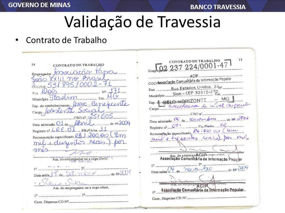 GOVERNO DE MINAS BANCO TRAVESSIA Validação de Travessia Contrato de Trabalho