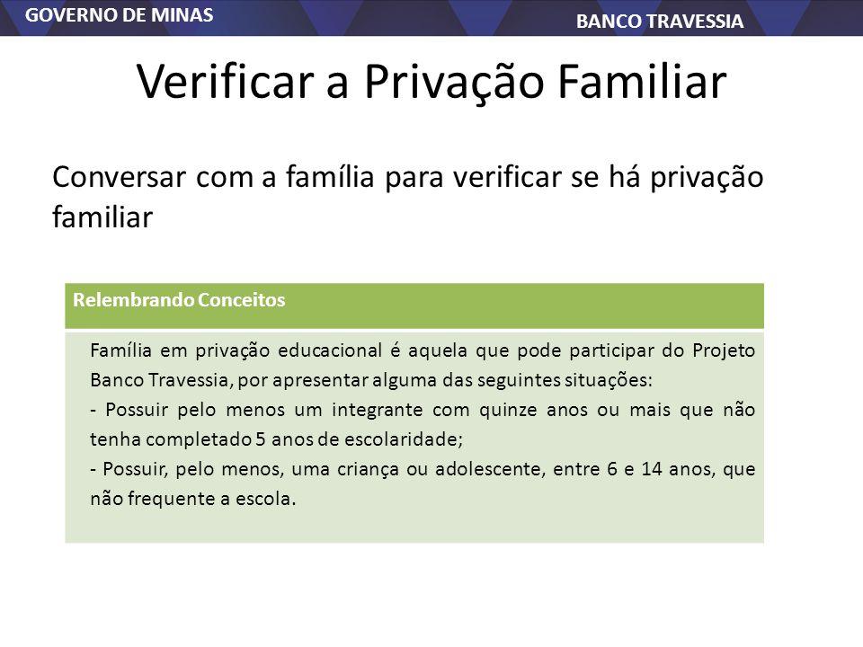 GOVERNO DE MINAS BANCO TRAVESSIA Verificar a Privação Familiar Conversar com a família para verificar se há privação familiar Relembrando Conceitos Fa