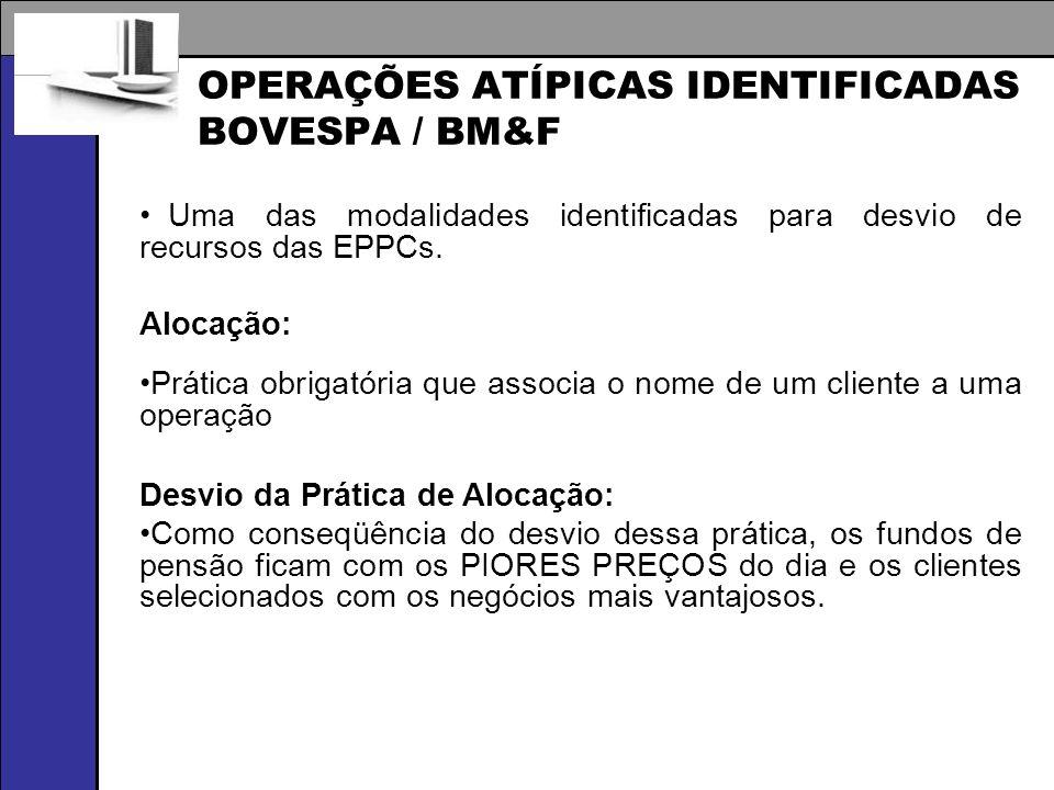 OPERAÇÕES ATÍPICAS IDENTIFICADAS BOVESPA / BM&F Uma das modalidades identificadas para desvio de recursos das EPPCs. Alocação: Prática obrigatória que