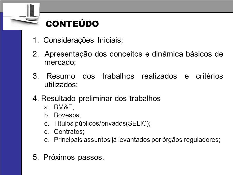 1. Considerações Iniciais; 2. Apresentação dos conceitos e dinâmica básicos de mercado; 3. Resumo dos trabalhos realizados e critérios utilizados; 4.