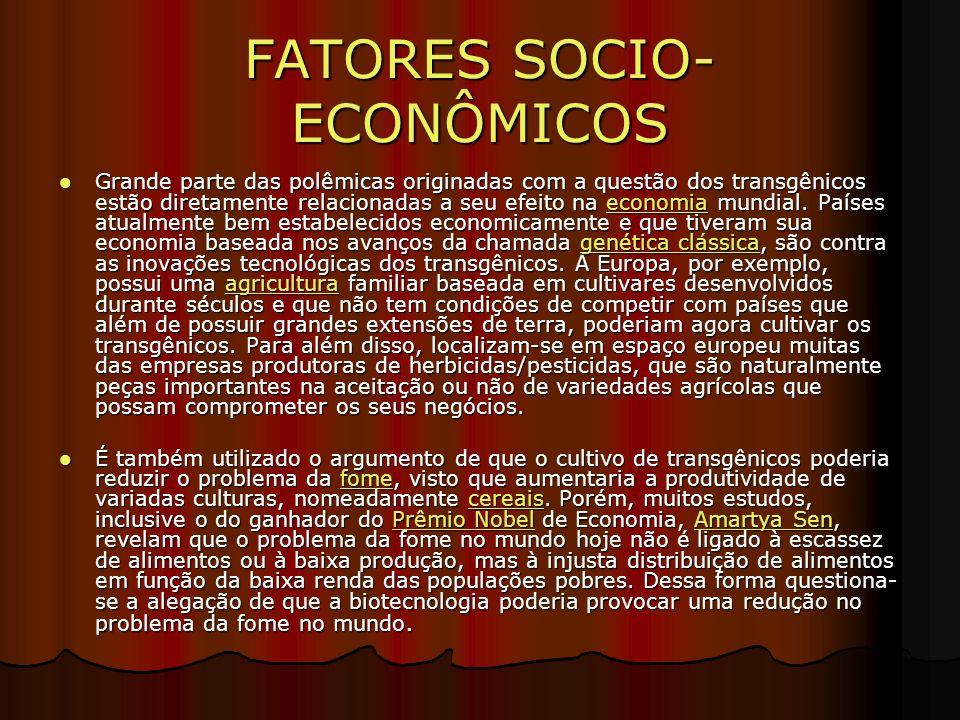 FATORES SOCIO- ECONÔMICOS Grande parte das polêmicas originadas com a questão dos transgênicos estão diretamente relacionadas a seu efeito na economia mundial.