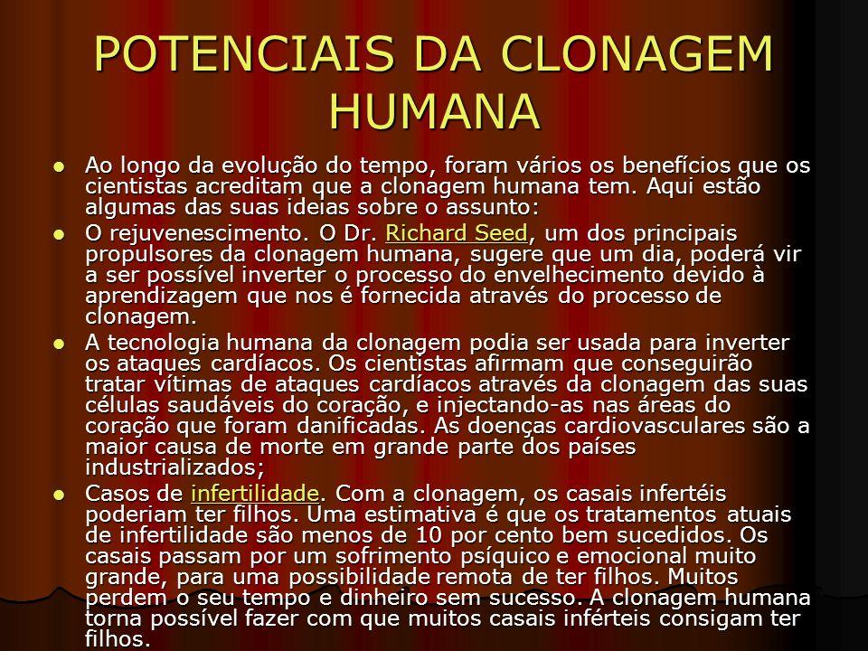 POTENCIAIS DA CLONAGEM HUMANA Ao longo da evolução do tempo, foram vários os benefícios que os cientistas acreditam que a clonagem humana tem.