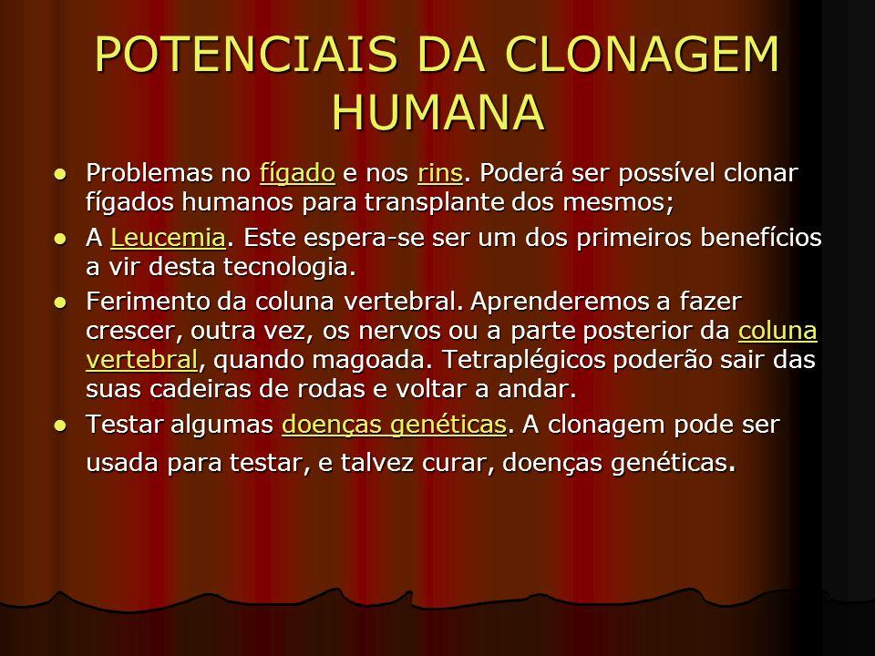 POTENCIAIS DA CLONAGEM HUMANA Problemas no fígado e nos rins.