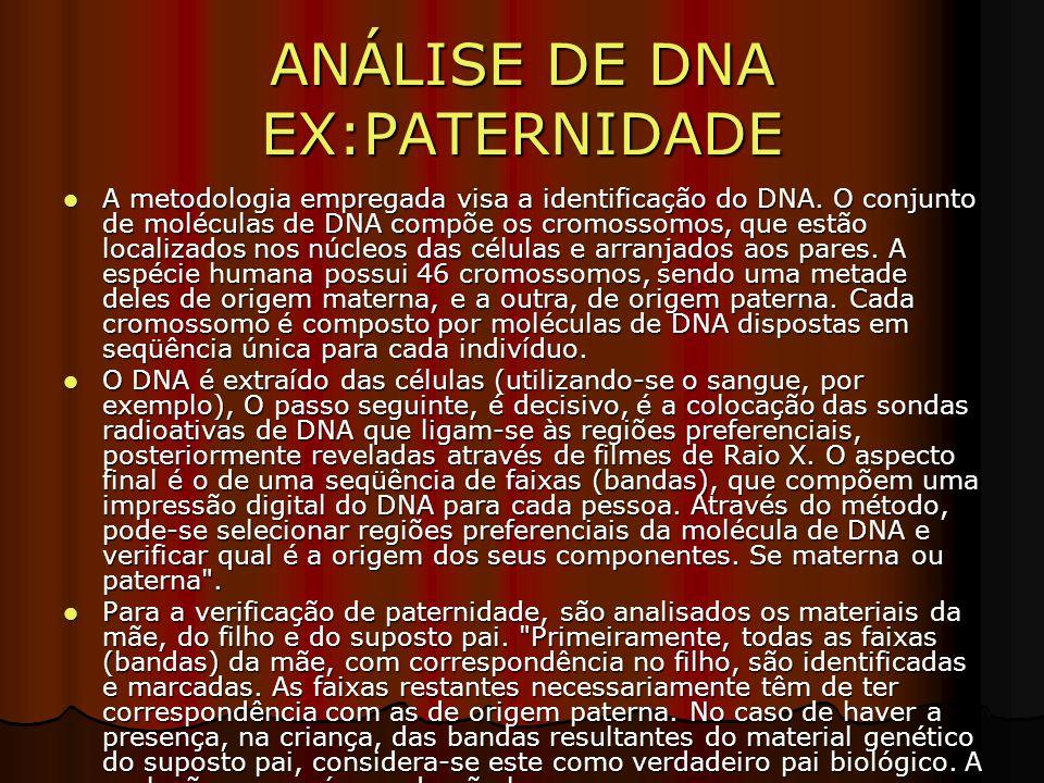 ANÁLISE DE DNA EX:PATERNIDADE A metodologia empregada visa a identificação do DNA.