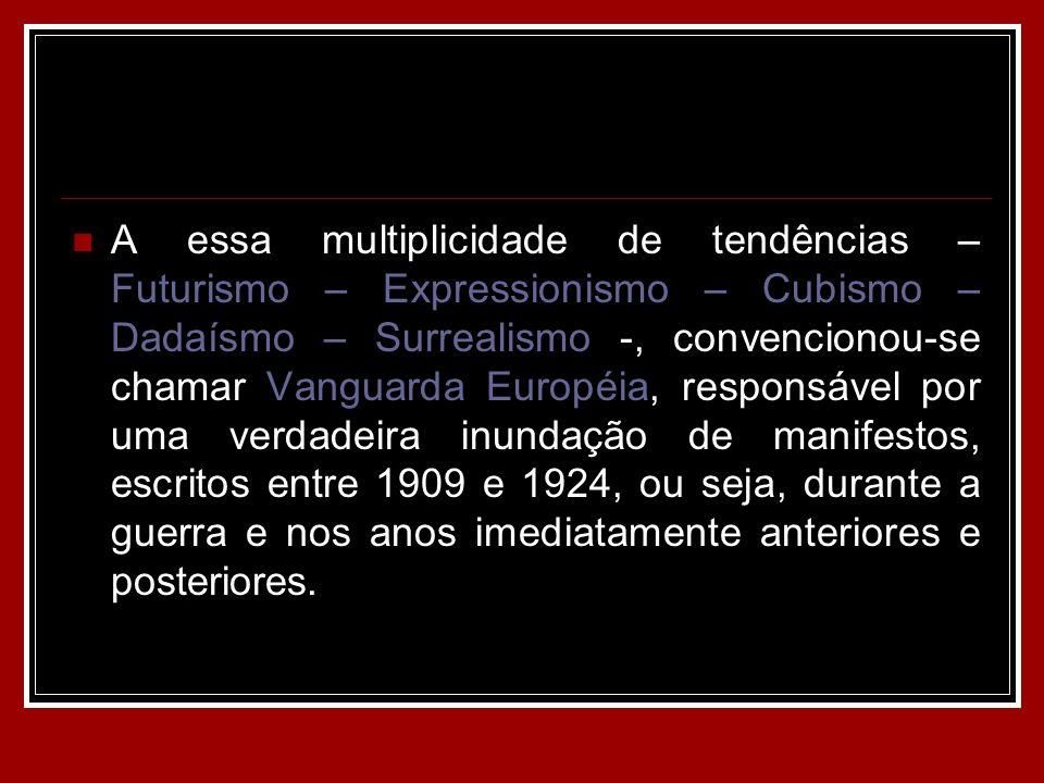 A essa multiplicidade de tendências – Futurismo – Expressionismo – Cubismo – Dadaísmo – Surrealismo -, convencionou-se chamar Vanguarda Européia, resp