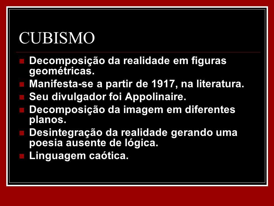 CUBISMO Decomposição da realidade em figuras geométricas. Manifesta-se a partir de 1917, na literatura. Seu divulgador foi Appolinaire. Decomposição d